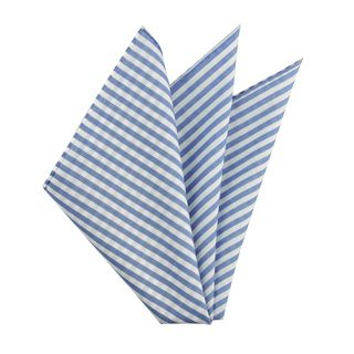 Carlo Riva - Blue & White Voile Cotton Pocket Square #7