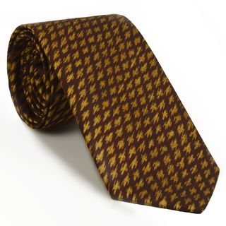 Gold on Burgundy Mudmee Silk Tie #MUT-2