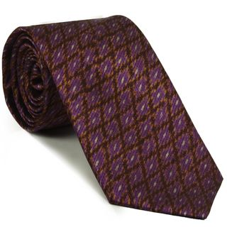 White, Yellow Gold, Chocolate on Dark Pink Mudmee Silk Tie #MUT-18