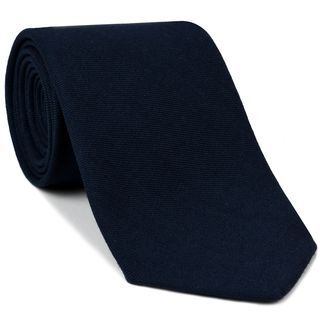 Midnight Blue Solid Challis Wool Tie #CHSOT-4