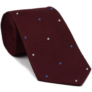 Dark Red Grenadine Fina Silk Tie (1,4) - Hand Sewn Pin Dots Silk Tie #GFDT-2