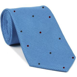 Light Oxford Blue Grenadine Fina Silk Tie (7,37) - Hand Sewn Pin Dots Silk Tie #GFDT-36