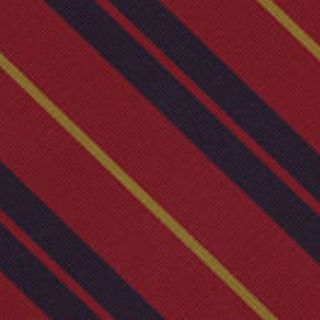 Yellow & Midnight Blue on Red Atkinsons Striped Irish Poplin Tie #AST-51
