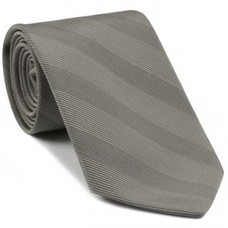 Charcoal Gray & Gray Atkinsons Striped Irish Poplin Tie #AST-57