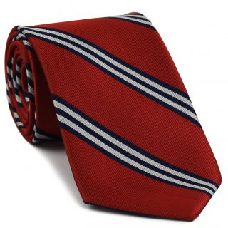 American University Silk Tie #24 - Navy Blue and Bright White Stripes on Red