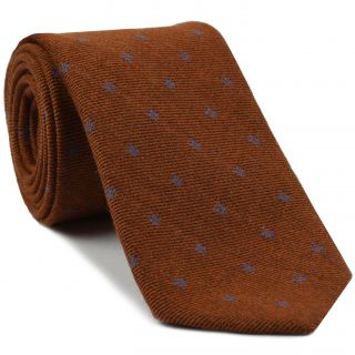 Sky Blue on Rust Pattern Wool Tie # 5