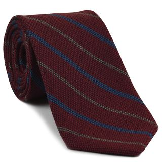 Ocean Blue & Brown Stripes on Dark Red Wool Tie # 1