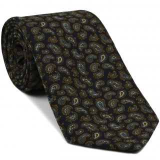 Burnt Orange, Brown, Sky Blue & Off-White on Midnight Blue Paisley Pattern Challis Wool Tie #CHPT-7