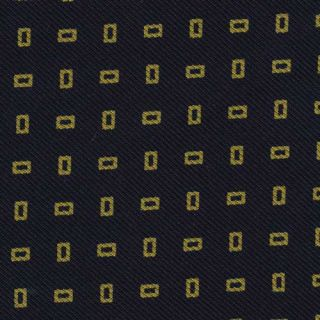 Yellow Gold on Midnight Blue Macclesfield Printed Silk Tie #25