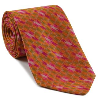 Fuchsia / Orange / Yellow Gold & White Mudmee Silk Tie #49