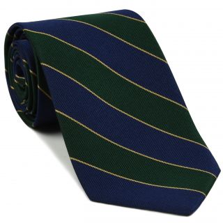 Somerset Light Infantry Stripe Silk Tie # 52 - Navy Blue / Forest Green & Light Gold