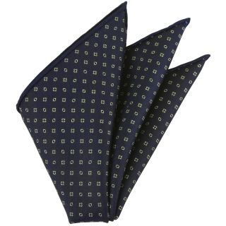 Off-White on Midnight Blue  Macclesfield Printed Silk Pocket Square #MCP-169