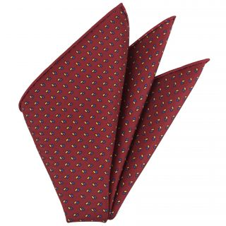 Blue & Yellow on Red Macclesfield Printed Silk Pocket Square #MCP-184