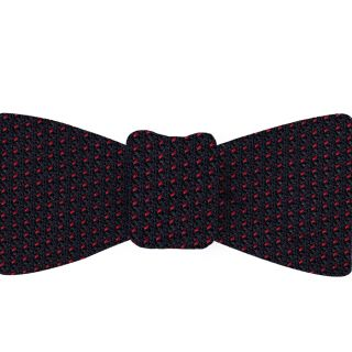 Bright Red on Midnight Blue Grenadine Pin Dot Silk Bow Tie #GGPDBT-2