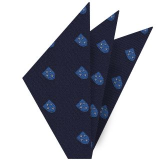 White & Blue on Dark Navy Blue Americal Division Silk Pocket Square #AMP-4