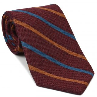 Ocean Blue & Rust Stripes on Dark Red Wool Tie # 2
