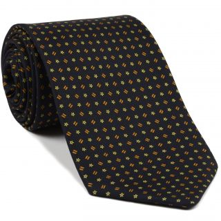 Orange & Yellow on Midnight Blue Macclesfield Printed Silk Tie #MCT-90