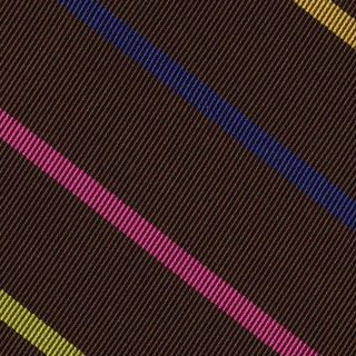 Blue, Yellow Corn, Orange, Lavender, Young Leaf Green & Fuchsia on Bitter Chocolate Reppe Stripe Silk Tie # 57