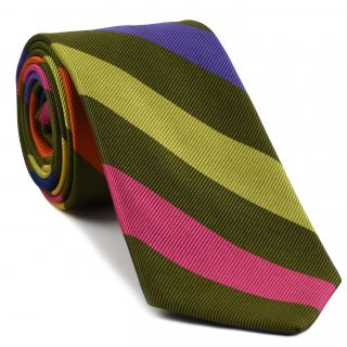 Yellow Gold, Lavender, Young Leaf  Green, Fuchsia & Orange on Olive Green Reppe Stripe Silk Tie #5