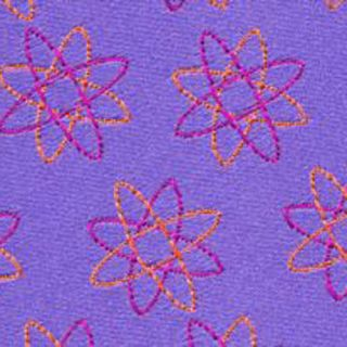 Fuchsia & Yellow Gold on Light Violet English Geometric Silk Tie #18