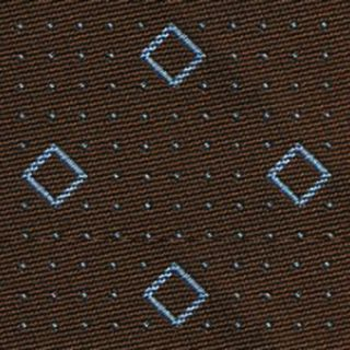 Powder Blue on Brown English Geometric Silk Tie #20