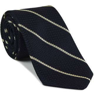 Off White Stripe On Midnight Blue Grenadine Tie #5