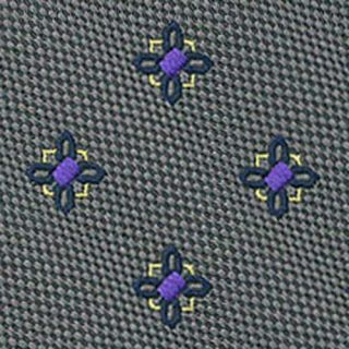 Navy, Purple & Corn Yellow Flower On Charcoal Gray - Silk Tie #34