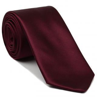 Dark Red Satin Silk Tie #10