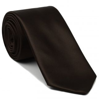 Dark Chocolate Satin Silk Tie #14