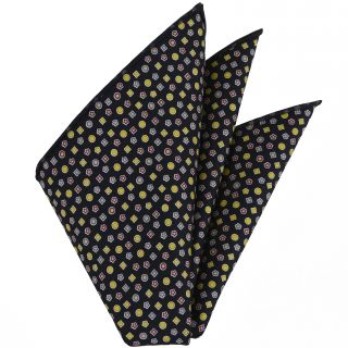 Lavender, Purple, White & Gold with a touch of Green on Midnight Blue Macclesfield Printed Silk Pocket Square #MCP-96
