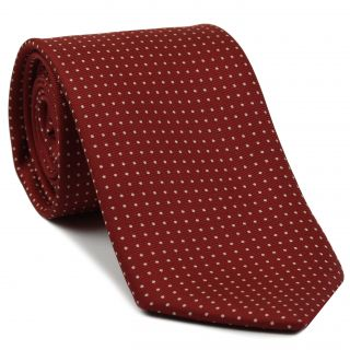 White on Dark Red Macclesfield Silk Tie #MCPDT-17