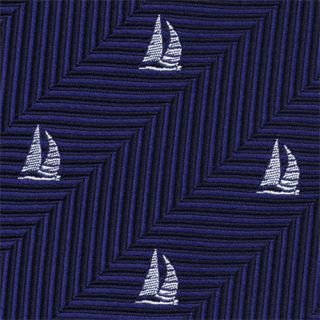 White on Dark Navy & Midnight Blue Sailing Tie # 1
