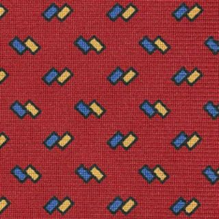Blue & Yellow on Red Macclesfield Printed Silk Tie # 184