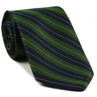 Queen's Royal Irish Hussars Stripe Silk Tie # 30 - Corn Yellow, Lime Green & Dark Navy Blue