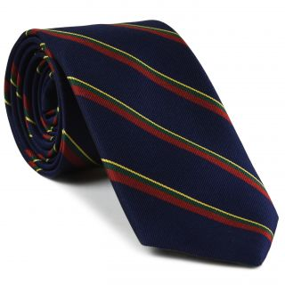 Royal Marines Stripe Silk Tie # 40 - Corn Yellow, Forest Green & Dark Red on Midnight Blue