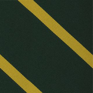 1st Battlion Connaught Rangers Stripe Silk Tie # 46 - Corn Yellow on Dark Forest Green