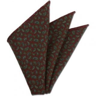 Red Paisley Pattern Challis Wool Pocket Square #CHPP-9