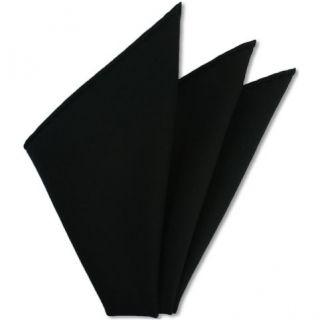 Black Solid Challis Wool Pocket Square # 1