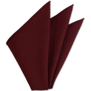 Red Solid Challis Wool Pocket Square # 2