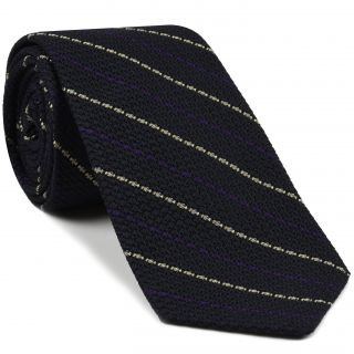 Purple And Off White On Midnight Blue Grenadine Grossa Stripe Silk Tie # 9