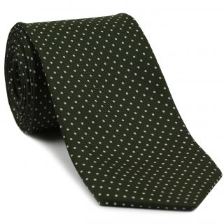White On Dark Olive Green Printed Pin Dot Silk Tie #5