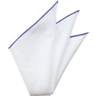 Natural White Linen/Cotton with Bluish Purple Contrast Edges Pocket Square #LCCP-12