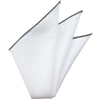 Natural White Linen/Cotton with Gray Contrast Edges Pocket Square #LCCP-15