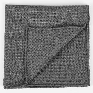 Charcoal Gray Grenadine Grossa Silk Pocket Square #20