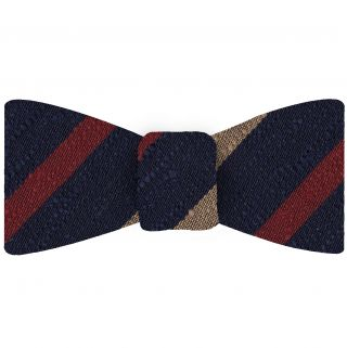 Dark Red & Cream on  Dark Navy Blue Shantung Striped Silk Bow Tie #SHSTBT-2