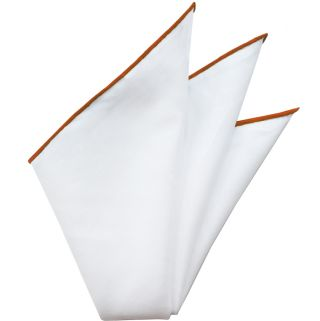 Natural White Linen/Cotton With Reddish/Orange Contrast Edges Pocket Square #LCCP-4
