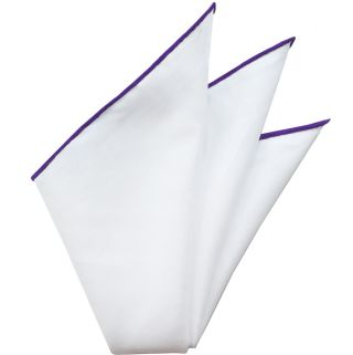Natural White Linen/Cotton With Purple Contrast Edges Pocket Square #LCCP-5