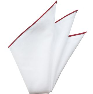 Natural White Linen/Cotton With Red Contrast Edges Pocket Square #LCCP-6