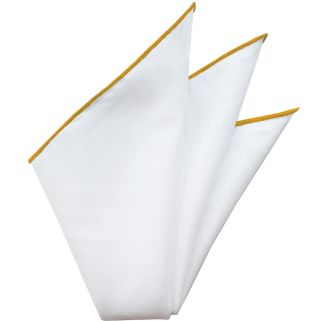 Natural White Linen/Cotton With Mandarin Contrast Edges Pocket Square #LCCP-7