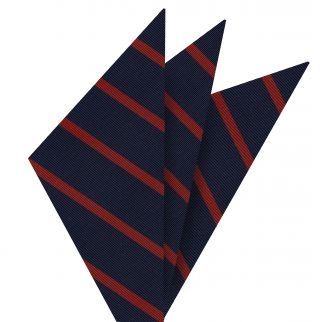 Red on Navy Mogador Striped Pocket Square #MGSP-4